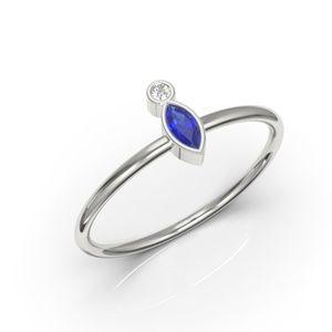 10K Minimalist Bezel Marquise Sapphire CZ Ring